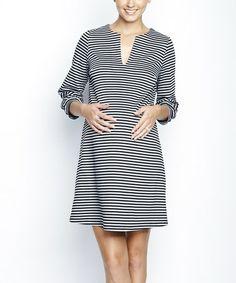 a2157ab8fbe Maternal America Black Stripe Ponte Maternity Shift Dress
