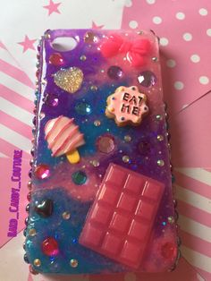 Kawaii Candy Galaxy iPhone 4 / 4s phone case / Resin Glitter phone case / Custom Resin Girly phone cover by HardCandyCouture1 on Etsy https://www.etsy.com/listing/230328480/kawaii-candy-galaxy-iphone-4-4s-phone