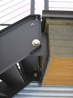 Hinged Steel Stair with cable rails, blackened steel, designer Stair Handrail, Staircase Railings, Stairways, Railing Design, Staircase Design, Detail Architecture, Custom Metal Fabrication, Steel Stairs, Casas Containers