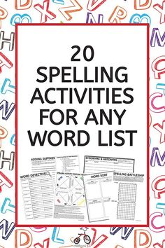 A spelling activities pack of 20 print-and-go pages that can be used with any spelling list that add fun and variety to spelling practice. 4th Grade Spelling Words, Spelling Word Activities, Spelling Word Practice, Spelling Homework, Spelling Lists, Word Work Activities, Spelling And Grammar, Spelling Ideas, Spelling Games For Kids