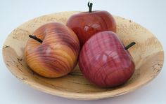 wood turned apples