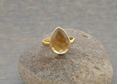 #Champagne #Quartz Micron #Gold Plated 925 #Sterling #Silver #Gemstone #Ring. https://www.etsy.com/listing/187356652/champagne-quartz-beautiful-pear-10x14mm?ref=shop_home_active_1