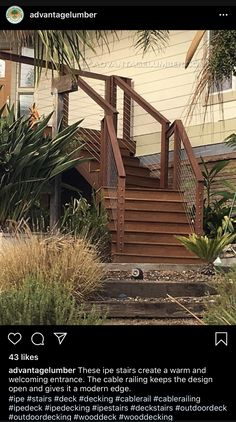 Ipe Decking, Cable Railing, Deck Stairs, Deck Design, Garden Bridge, Entrance, Outdoor Structures, Modern, Cover Design