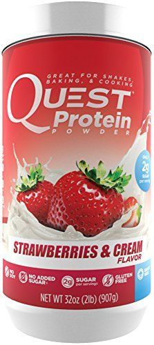 Quest Nutrition Protein Powder Strawberries  Cream 21g Protein 84 PCals 2g Sugar 3g Net Carbs Low Carb Gluten Free Soy Free 2lb Tub *** Continue to the product at the image link.
