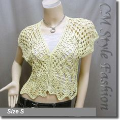 Crochet Eyelet Shrug Bolero Cardigan Topper Yellow
