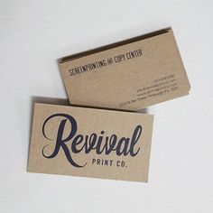 Screen printed business cards on chipboard.  #screenprinting #businesscard #madeinpgh #printlife by revivalprintco