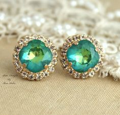 Emerald peridot green Rhinestone Crystal stud Petite by iloniti, $43.00