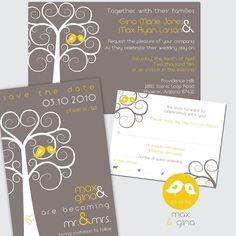 Custom Designed Swirly Tree Wedding Invitation Stationery Package Set - up to 4 pieces. $50.00, via Etsy.