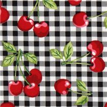 Tissu noir à pois avec des cerises Cherry Dot par Michael Miller - Tissus à pois, rayés, à carreaux - Tissus - boutique kawaii modeS4u