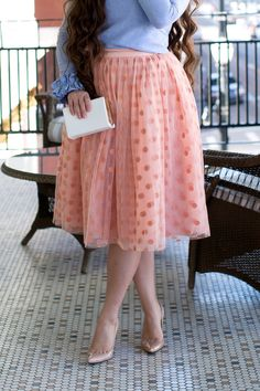 Modest rose pink tulle polka dot tutu skirt. Also available in ivory and black. Modest fashion, bridesmaid dresses, ruffles, and lace >>> www.daintyjewells.com