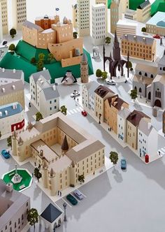 Hattie Newman - Paper city inspired by Edinburgh 3d Paper Crafts, Paper Toys, Festa Hotel Transylvania, Atelier Architecture, Cardboard City, Paper Illustration, Paper Artwork, Paper Houses, Miniature Houses