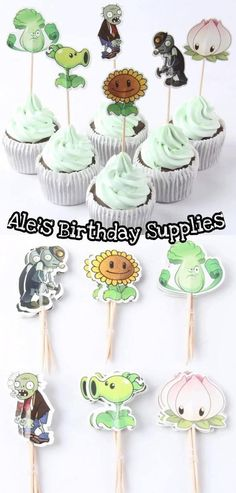 *** CUPCAKE TOPPERS *** (24) Pc Plants Vs Zombies Cupcake Toppers Quantity:24 pcs Toppers/Picks Material: high quality food grade paper Packing: 24 pc mix 6 designs ( 6 x 4 = 24 Pc ) Shipping: First Class (3-5 Days) *** DAMAGE GOODS *** If you happen to receive a damage item, please Zombie Birthday Parties, Zombie Party, Zombies Vs, Zombie Cupcakes, Zombie Food, Birthday Supplies, Food Grade, Cupcake Toppers, Handmade Gifts
