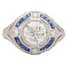 Old European Cut Sapphire Diamond Platinum Ring