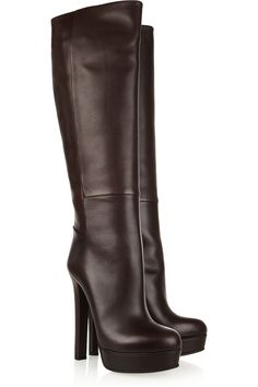 """Gucci Leather knee boots. I would definitely wear my """"I've fallen and I can't get up"""" alarm around my neck. How awesome are these boots?"""