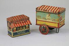 "Mackintosh ""Toffee Shop"", c. and Crawford's ""Hokey Pokey"" tin, c. 3 ¾ h. 5 ¼ w. Vintage Canisters, Vintage Tins, Mackintosh Toffee, Old Candy, Tin House, Vintage Props, Vintage Packaging, Tin Man, Metal Toys"