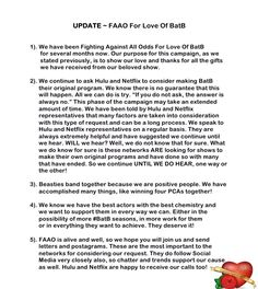 Why the FAAO Campaign was started #BatBTeam2gether #BatB #FAAOCampaign #IWantMoreBatB #IWantBatBToStay #Flyer