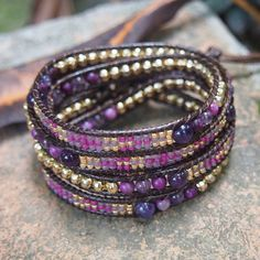 Purple mix Wrap bracelet with Seed beaded Boho Wrap by G2Fdesign