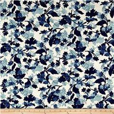 French Designer Barkcloth Floral Blue