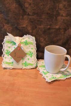 Vintage garden green floral cloth coaster by Fruitionbyjennifield, $10.00
