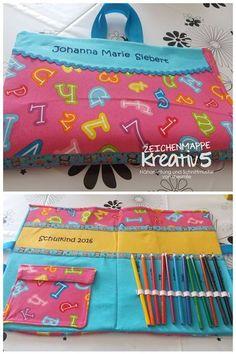 Zeichenmappe Kreativ5 mit viel Platz für Malblöcke, Skizzenbücher, Buntstifte und Zeichenutensilien. Eine Nähanleitung mit Schnittmuster von shesmile.