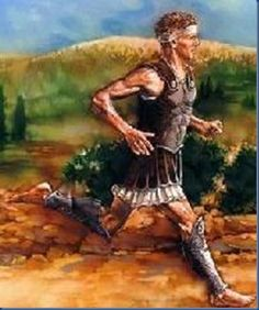 Pheidippides the Messenger Ancient Greek Costumes, Persephone, Roman, Marathon, Painting, Fictional Characters, Metre, Axe, Ancient Greece