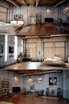 Here is another loft that is perfect for the person who loves the industrial look.  The bare cement looking walls strike you as a no nonsense feeling while the open beams on the ceiling enhance that emotion.