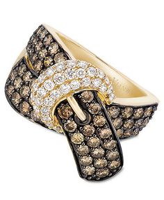 Le Vian 14k Gold Ring, Chocolate Diamond (2-1/6 ct. t.w.) and White Diamond (3/8 ct. t.w.) Buckle Ring