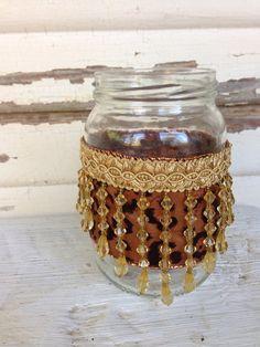 Embellished Mason Jar by RiverRatCrafts on Etsy, $6.00