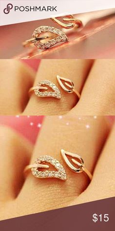 Rhinestone Leaves Opening Cuff Ring N E W Women's Adjustable Rhinestone Leaves Opening Cuff Ring Antiqued Gold Plated Jewelry Rings