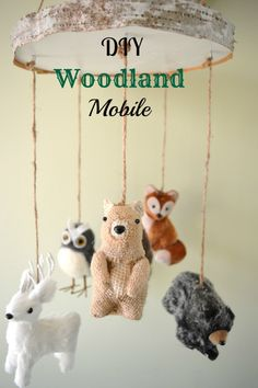 DIY Woodland Mobile using Christmas ornaments