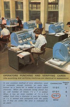 Punching and verifying cards (~1971).