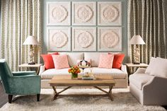 Ethereal Elegance: Icy blues and crisp whites ground this wintry take on Moroccan style. Ian Sofa. Benjamin Moore Castle Walls