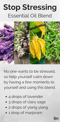 No one wants to be stressed, so help yourself calm down by having a few moments to yourself and using this blend. Just use 4 drops of lavender, 3 drops of clary sage, 2 drops of ylang ylang and a drop of marjoram. Click this pin to read all 20 essential oil blends and don't forget to save this pin for later! #LavenderEssentialOil