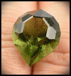 Moldavite Faceted Gemstone 11.85 ct 18x15x11mm Custom Cut from InnerVision Crystals