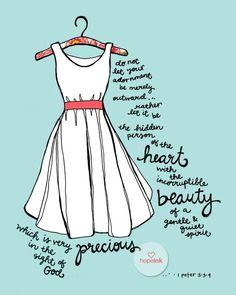 Items similar to Scripture Art, Precious Beauty, Hand Drawn Dress Illustration on Etsy