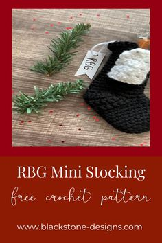 RBG Mini Stocking free crochet pattern from Blackstone Designs #RBG #NotoriousRBG #Christmas #crochet #crochetpattern