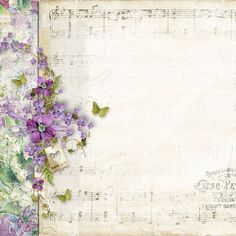 Violets on white, music mixed media