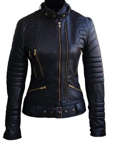 Women Black Padded Quilted Genuine Leather Jacket XL Black