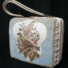 VINTAGE 1950s BASKET BOX HANDBAG KITSCH BAG MIDAS MIAMI VELVET BIRDS RHINESTONES