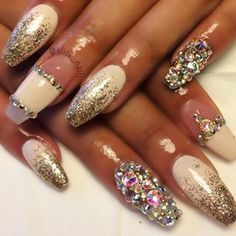white nails with bling and sparkles