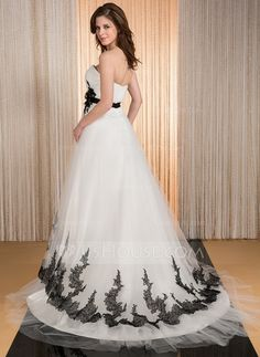Ball-Gown Sweetheart Court Train Tulle Charmeuse Wedding Dress With Ruffle Sash Appliques Lace Flower(s) (002031879)