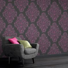 Floribunda Fuchsia / Charcoal Wallpaper - Floral Wall Coverings by Graham  Brown