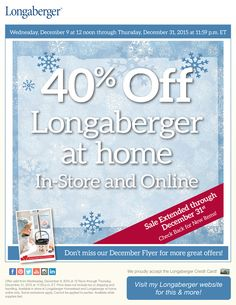 Extended: Shop Longaberger at home for our Lowest Prices of the Year!  Sale Extended through December 31st! Save 40% site-wide when you shop Longaberger at home online Shop early for best selection, quantities are limited and available while supplies last Visit my Longaberger website to order today! http://shopus.longaberger.com/heidianhalt