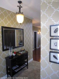 Stenciled Foyer ideas | Moorish Trellis Stencil by Royal Design Studio