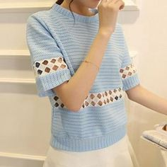 Buy 'Q.C.T – Short-Sleeve Panel Perforated Top' with Free International Shipping at YesStyle.com. Browse and shop for thousands of Asian fashion items from China and more!