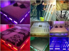 Fan Andrew Wood sent this amazing pallet bed photo to us. I love it but I'd prefer it was in someone else's bedroom :) What about you? We've got a gazillion pallet ideas on our site at theownerbuilderne. Well, maybe not a real gazillion but lots. Diy Pallet Bed, Pallet Crafts, Pallet Projects, Pallet Bedframe, Art Projects, Pallet Couch, Pallet Patio, Outdoor Pallet, Old Pallets