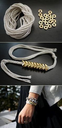 Prepare to be nuts for nuts. Use hex nuts from your local hardware store to create this beautiful DIY bracelet. The Braided Hex Nut Bracelet is chic and unique. Hex nuts are a versatile and inexpensive DIY jewelry making components. Diy Craft Projects, Craft Tutorials, Diy Tresses, Nut Bracelet, Washer Bracelet, Arrow Bracelet, Zipper Bracelet, Bracelet Photo, Lace Bracelet