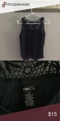 NAVY BLUE BLOUSE In great condition. Beautiful navy blue shirt! Rue 21 Tops Blouses