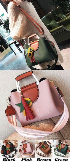 b93aca158f11 Fashion Girl s Lichee Pattern PU Tassels Letter Star Handbag Pendant  Contrast Color Shoulder Bag for big