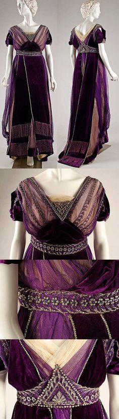 edwardianattire: A lovely Edwardian evening gown by the House of Worth, c. 1910, of purple silk with glass bead embellishments.